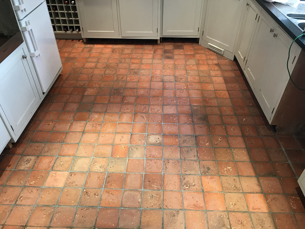 Quarry Tiled Kitchen Floor Bucklebury After Cleaning
