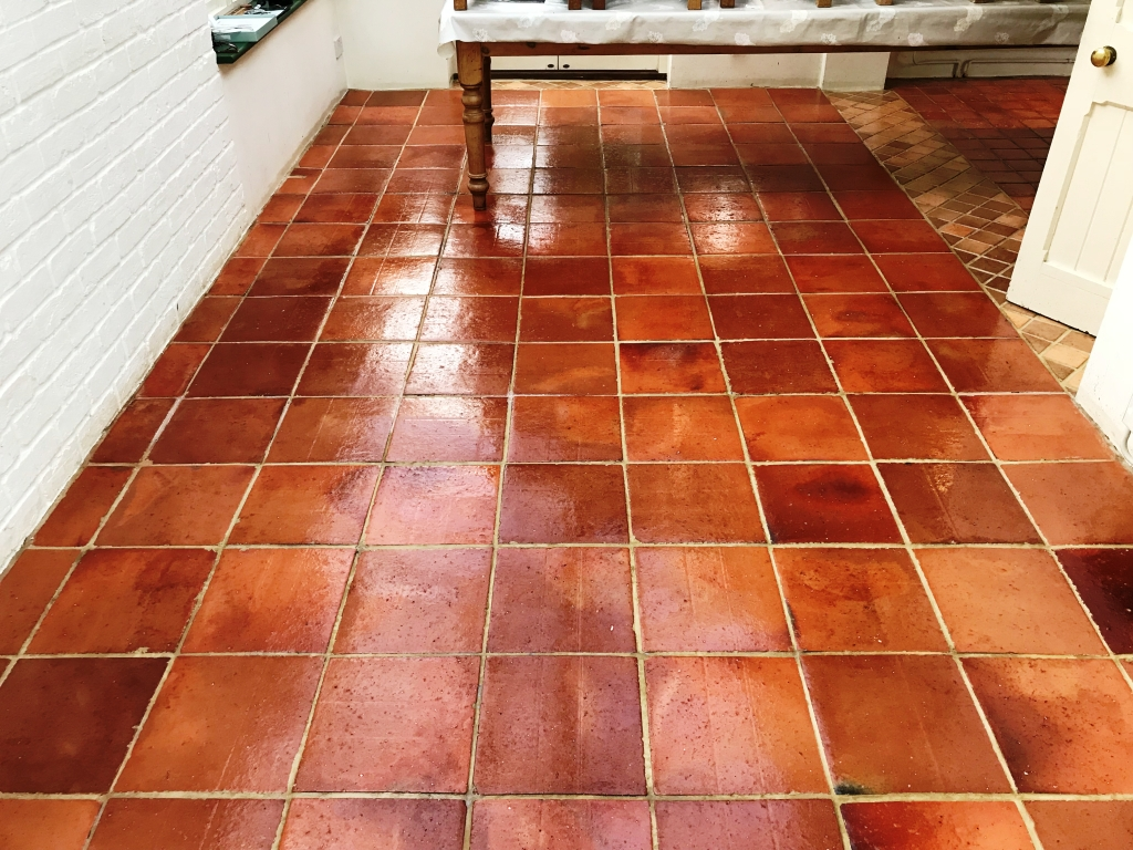 Terracotta Tiled Floor Bucklebury After Sealing