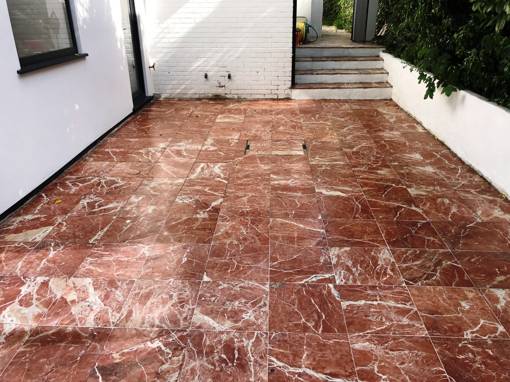 Marble Tiled Patio After Renovation Newbury
