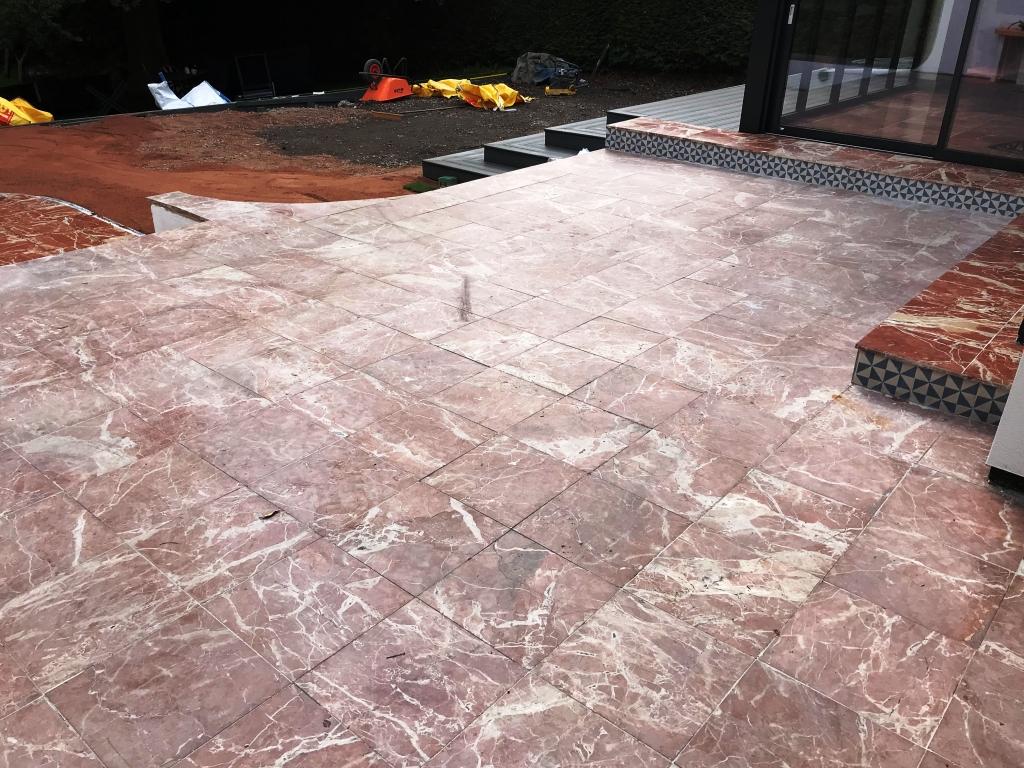 Marble Tiled Patio Before Renovation Newbury