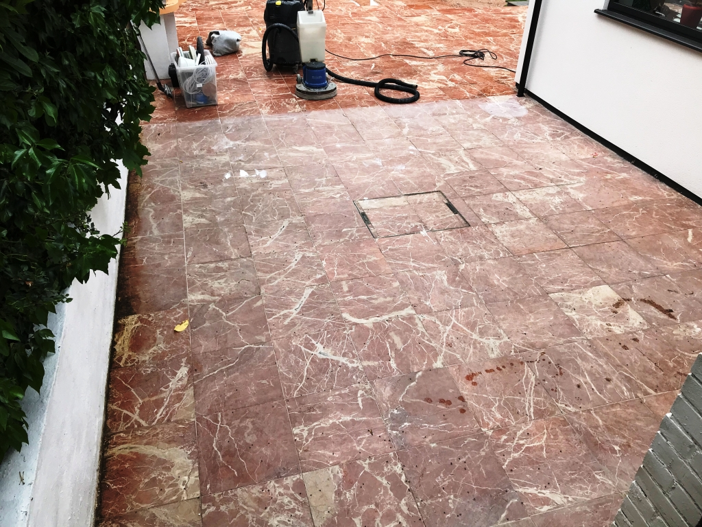 Marble Tiled Patio Before Renovation Newbury