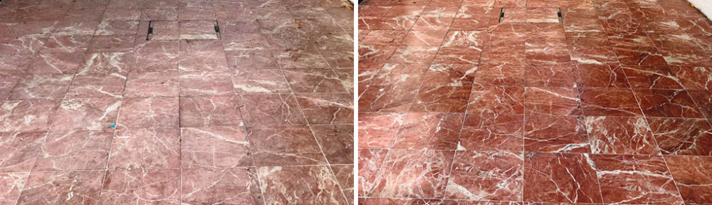 Restoring a Large Red Marble Patio at a Newbury Villa