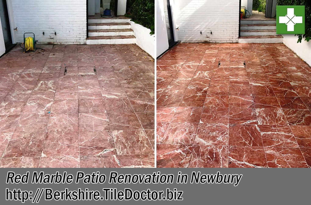 Red Marble Patio Before After Renovation Newbury