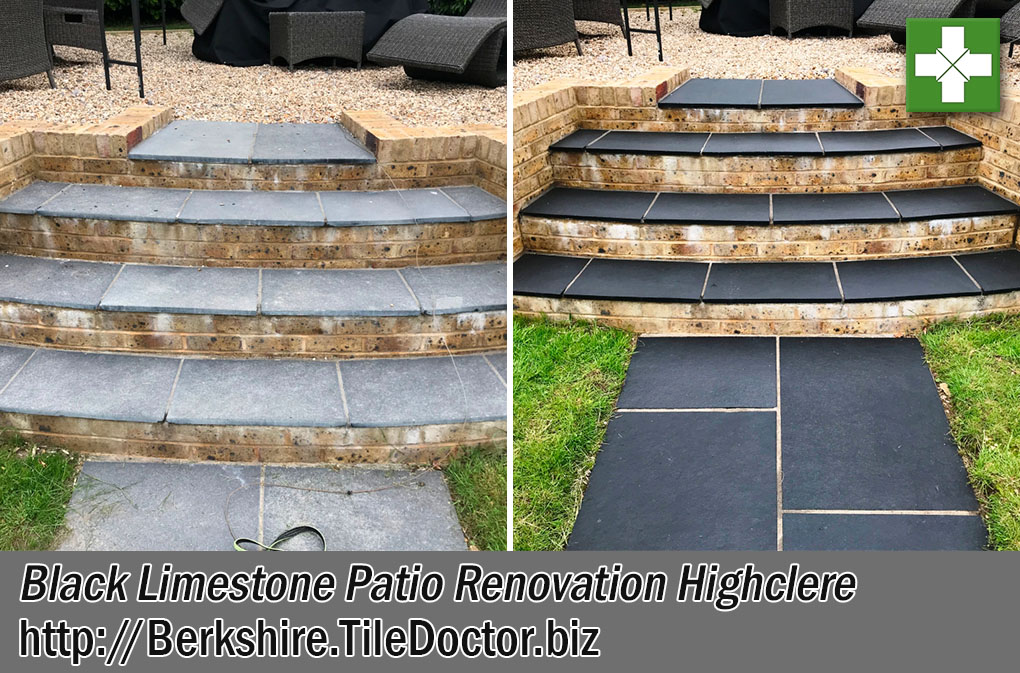 Black Limestone Patio Before After Renovation Highclere