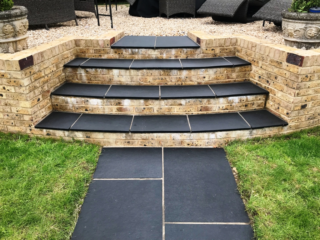 Black Limestone Paved Steps After Renovation Highclere Village