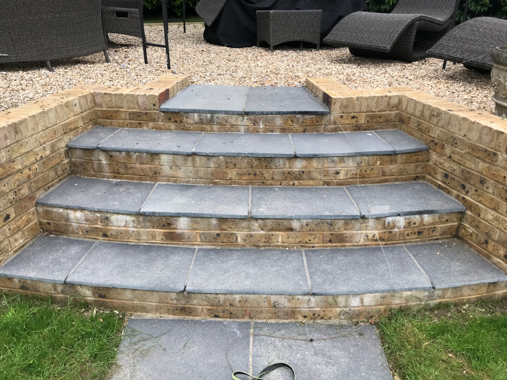 Black Limestone Paved Steps Before Renovation Highclere Village