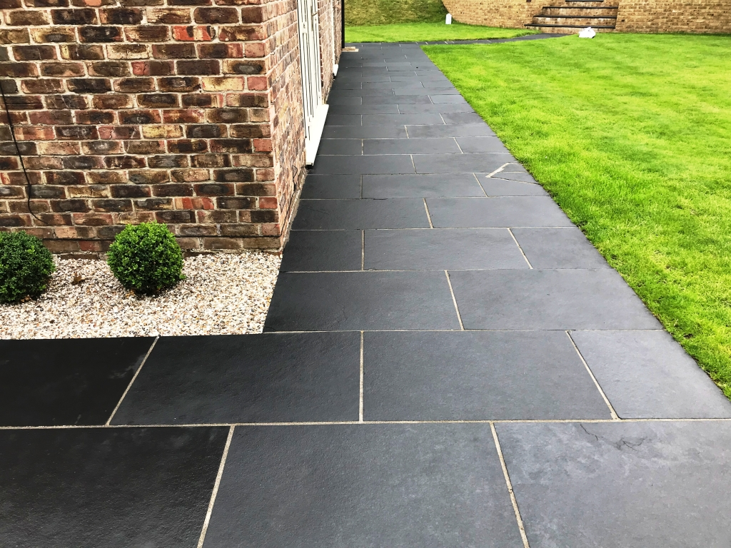 Black Limestone Paving After Renovation Highclere Village