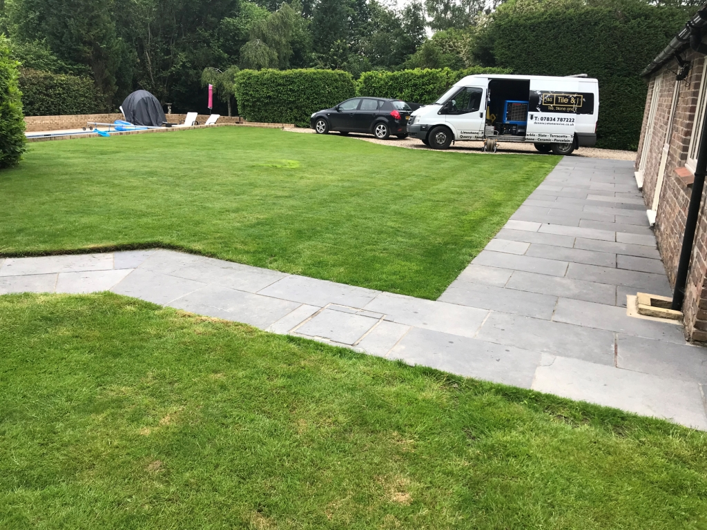 Black Limestone Paving Before Renovation Highclere Village