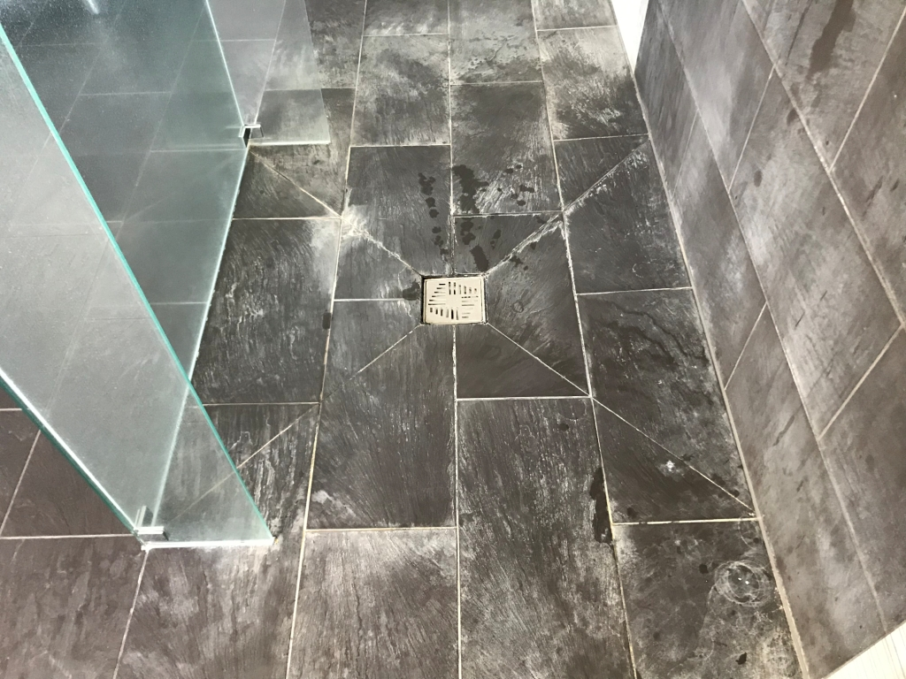 Limescale Stained Slate Effect Porcelain Shower Tiles Before Cleaning Burghfield Bridge