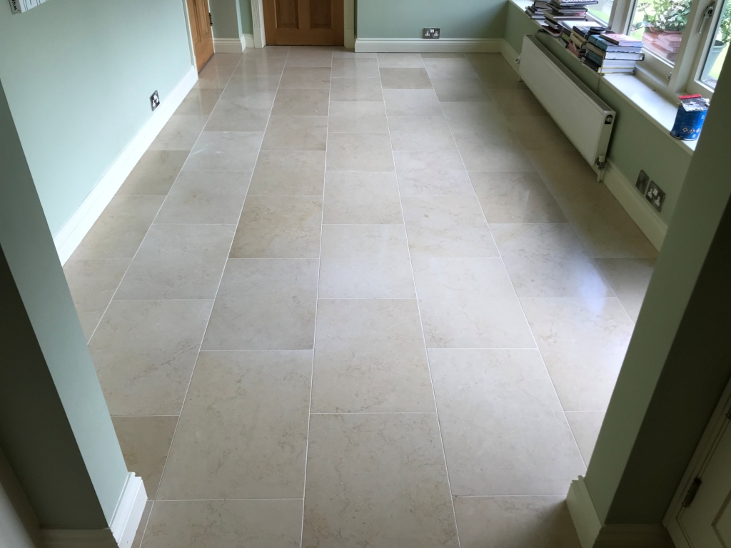 Jerusalem Limestone Floor After Polishing in Twyford