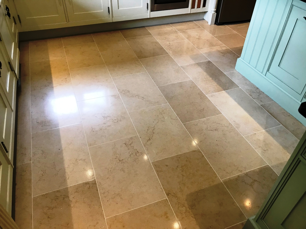 Jerusalem Limestone Kitchen Floor After Polishing in Twyford