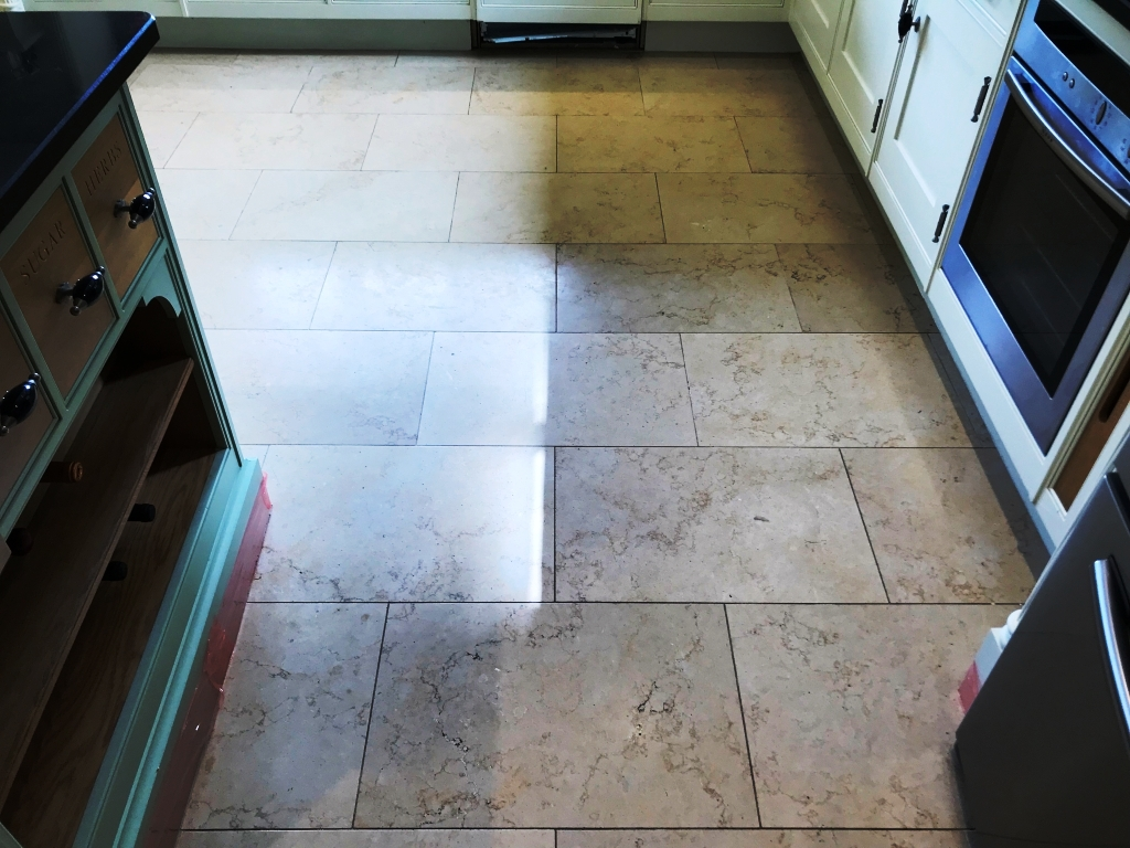 Jerusalem Limestone Kitchen Floor Before Polishing in Twyford