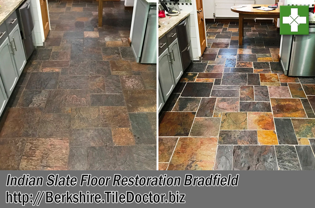 Indian Slate Tiled Kitchen Floor Before and After Renovation Bradfield Reading