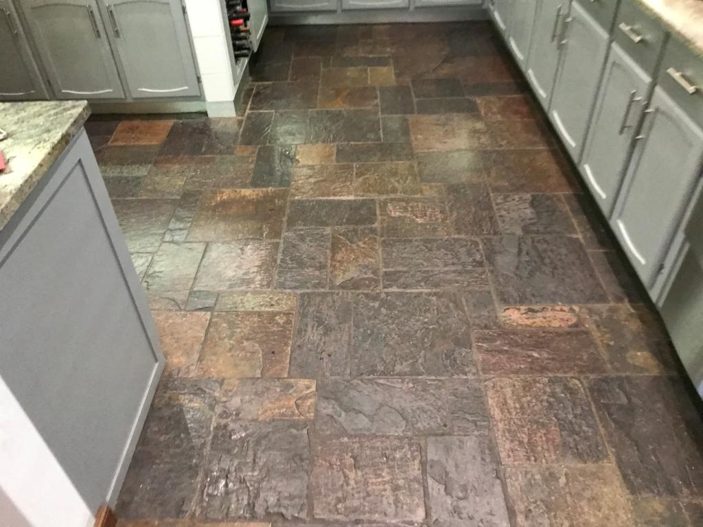 Multi Coloured Indian Slate Kitchen Floor Before Renovation Bradfield