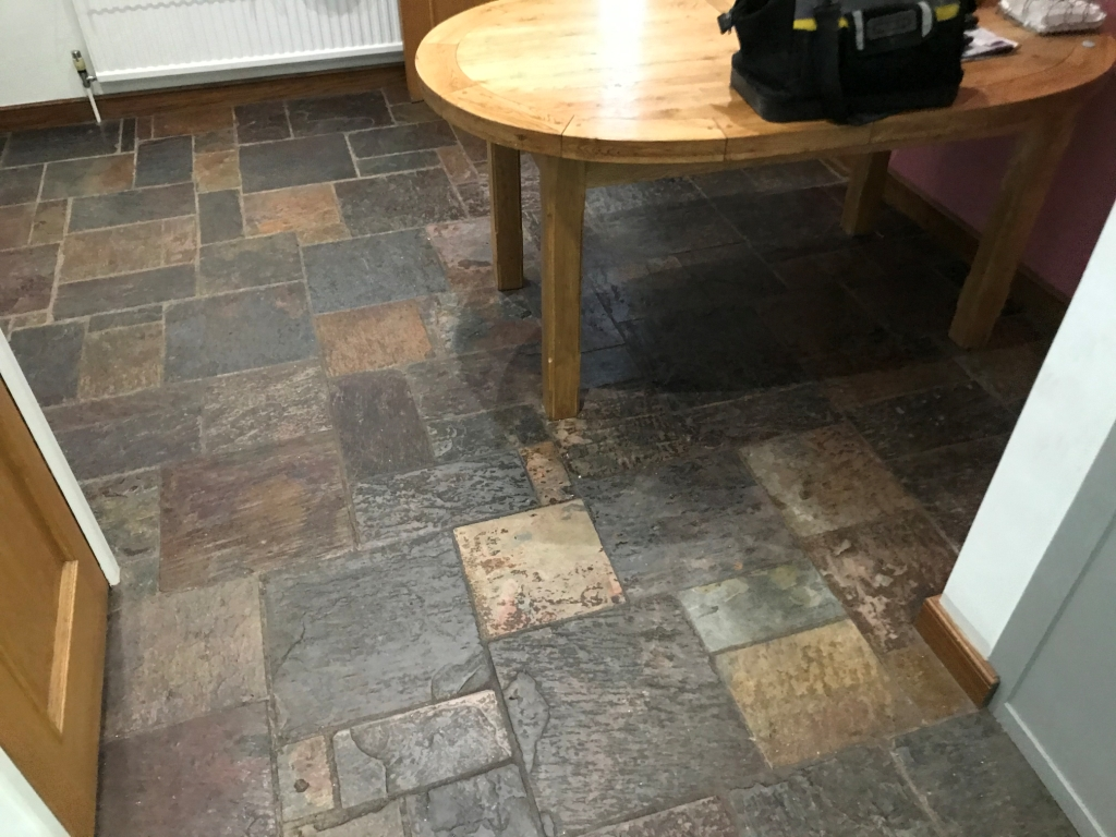 Multi Coloured Indian Slate Kitchen Floor Before Renovation Bradfield