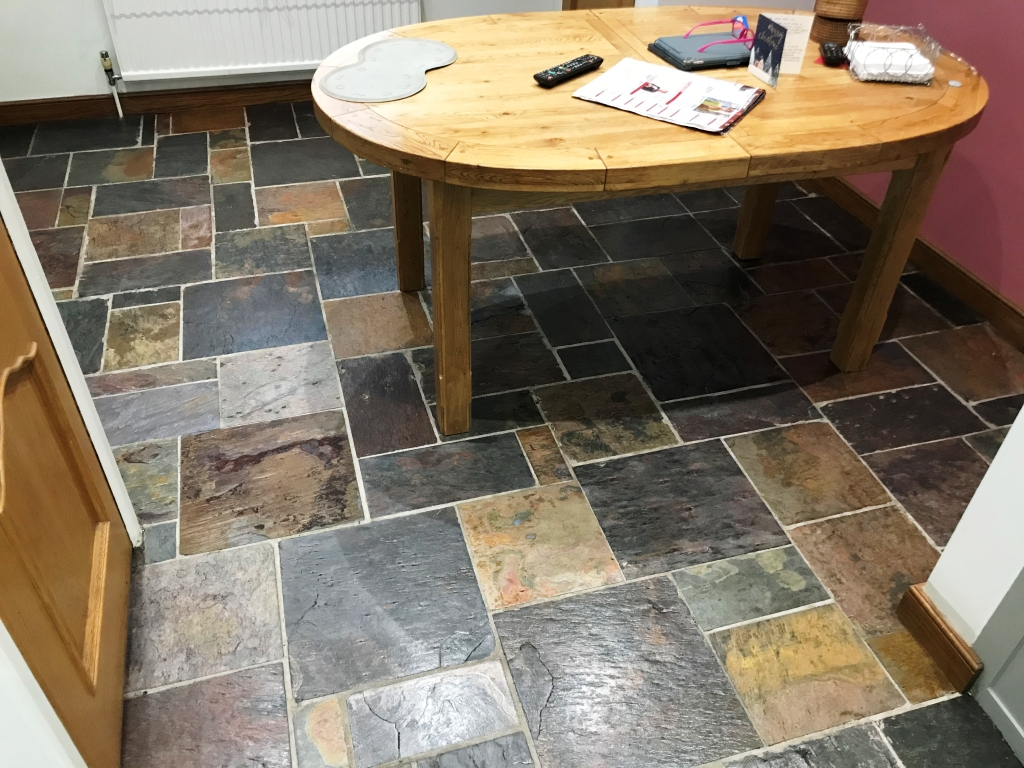 Multi Coloured Indian Slate Kitchen Floor after Renovation Bradfield
