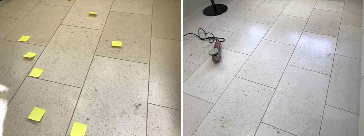 Limestone tiled floor Damaged by Citric Acid Restored in a Wokingham