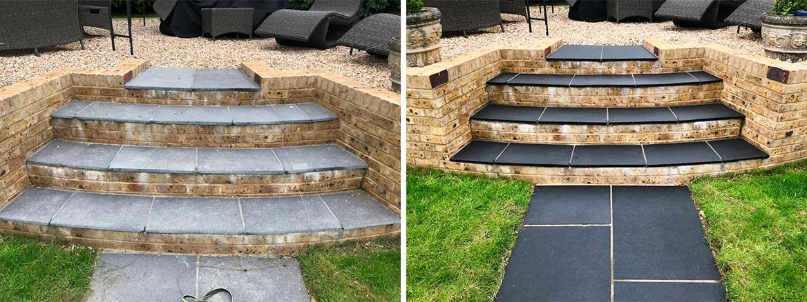 Black Limestone Paved Steps before and after Renovation Highclere Village
