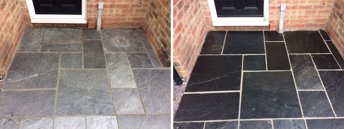 Exterior Slate Patio Paving Tile Renovation in Thatcham