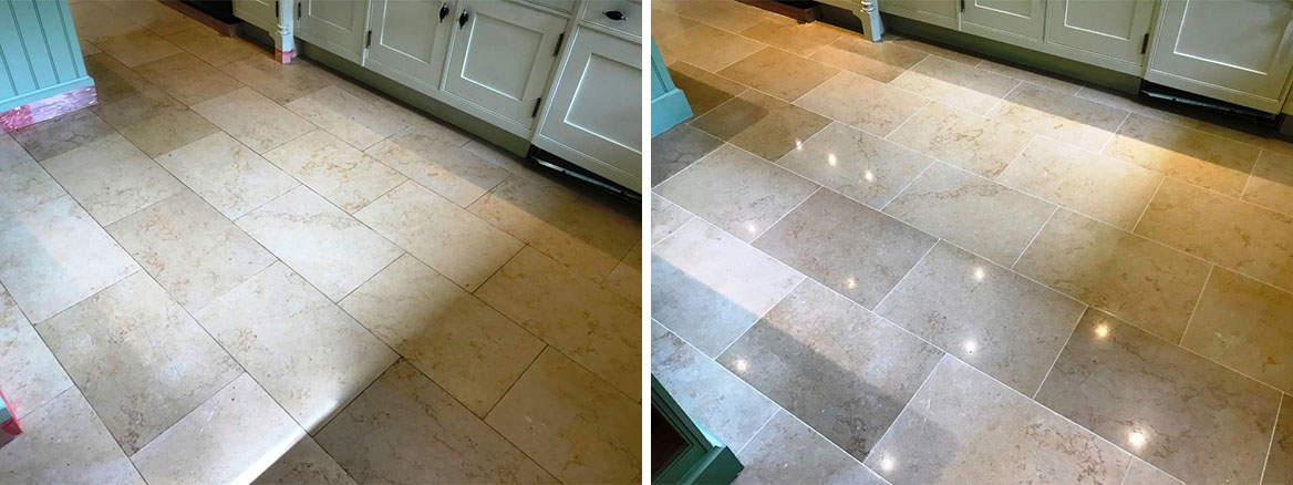 Jerusalem Limestone Kitchen Floor before and after Polishing in Twyford