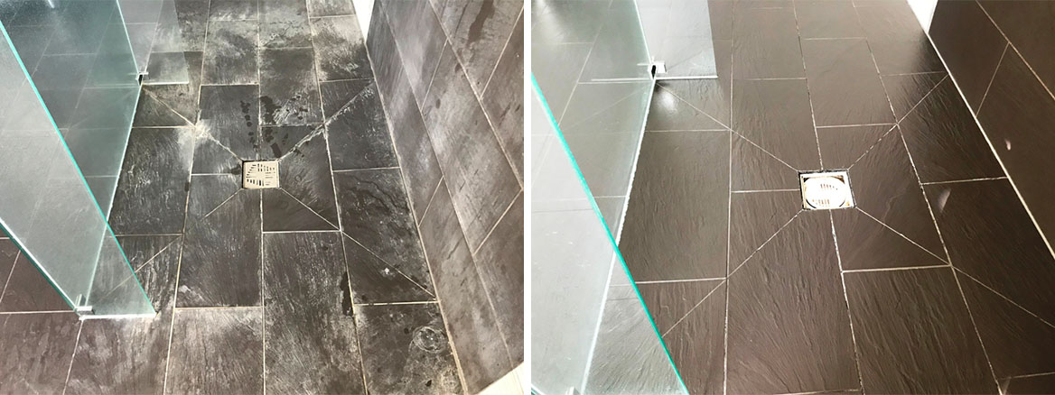 Limescale Stained Slate Effect Porcelain Shower Tiles before and after Cleaning Burghfield Bridge