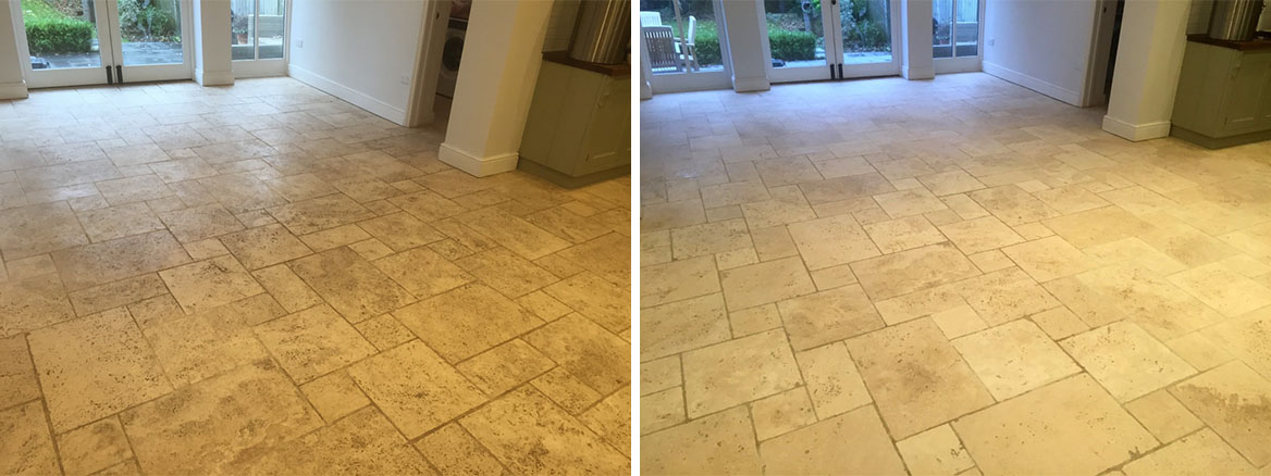 Filthy Limestone Tiled Floor Restored in a Maidenhead Kitchen