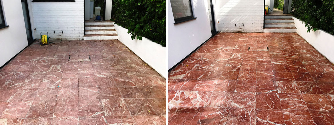 Marble Tiled Patio before and after Renovation Newbury