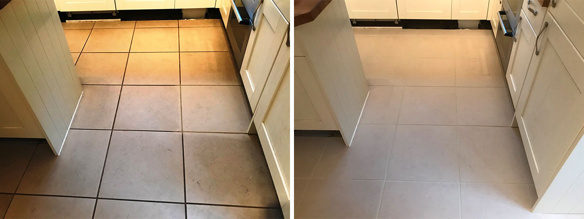 Porcelain Tiled Kitchen Floor before and after Renovation Binfield