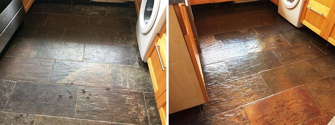 Slate Kitchen Floor before and after Restoration in Windsor