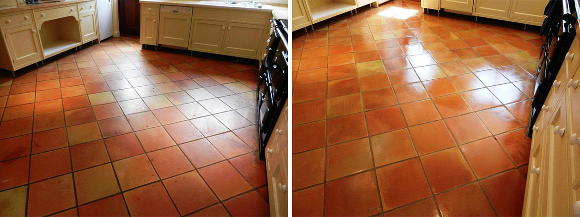 Terracotta Tiled Floor before and after Cleaning and sealing