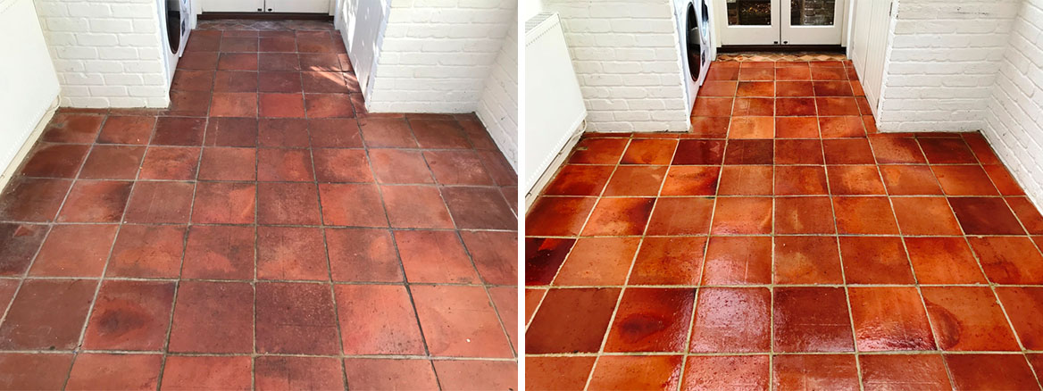 Terracotta Tiled Floor Bucklebury before and after Sealing
