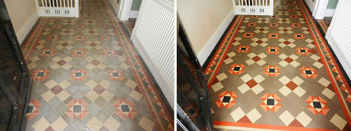 Victorian Tiled Floor before and after