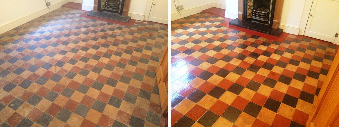 Victorian floor Covered in Lino Pangboune before and after Cleaning