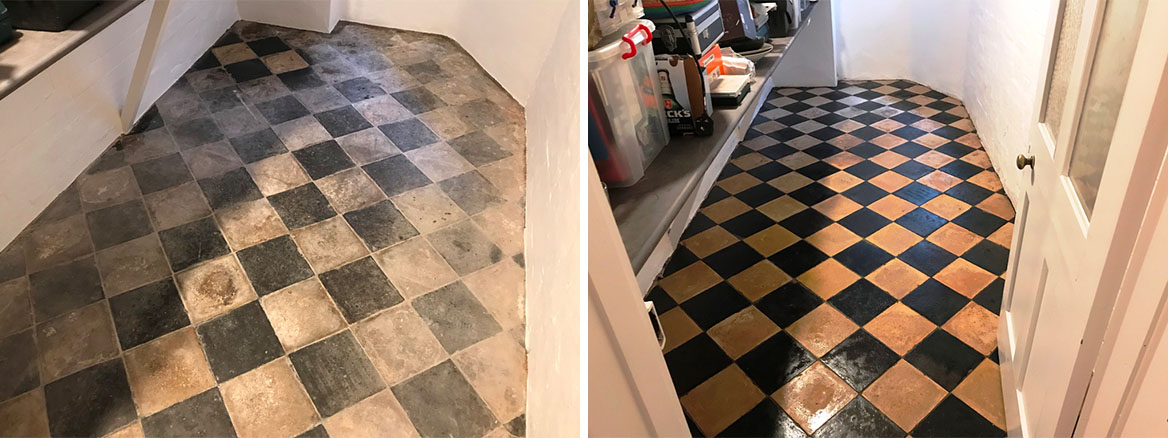 Yellow and Black Quarry Tiles before and after Cleaning Reading