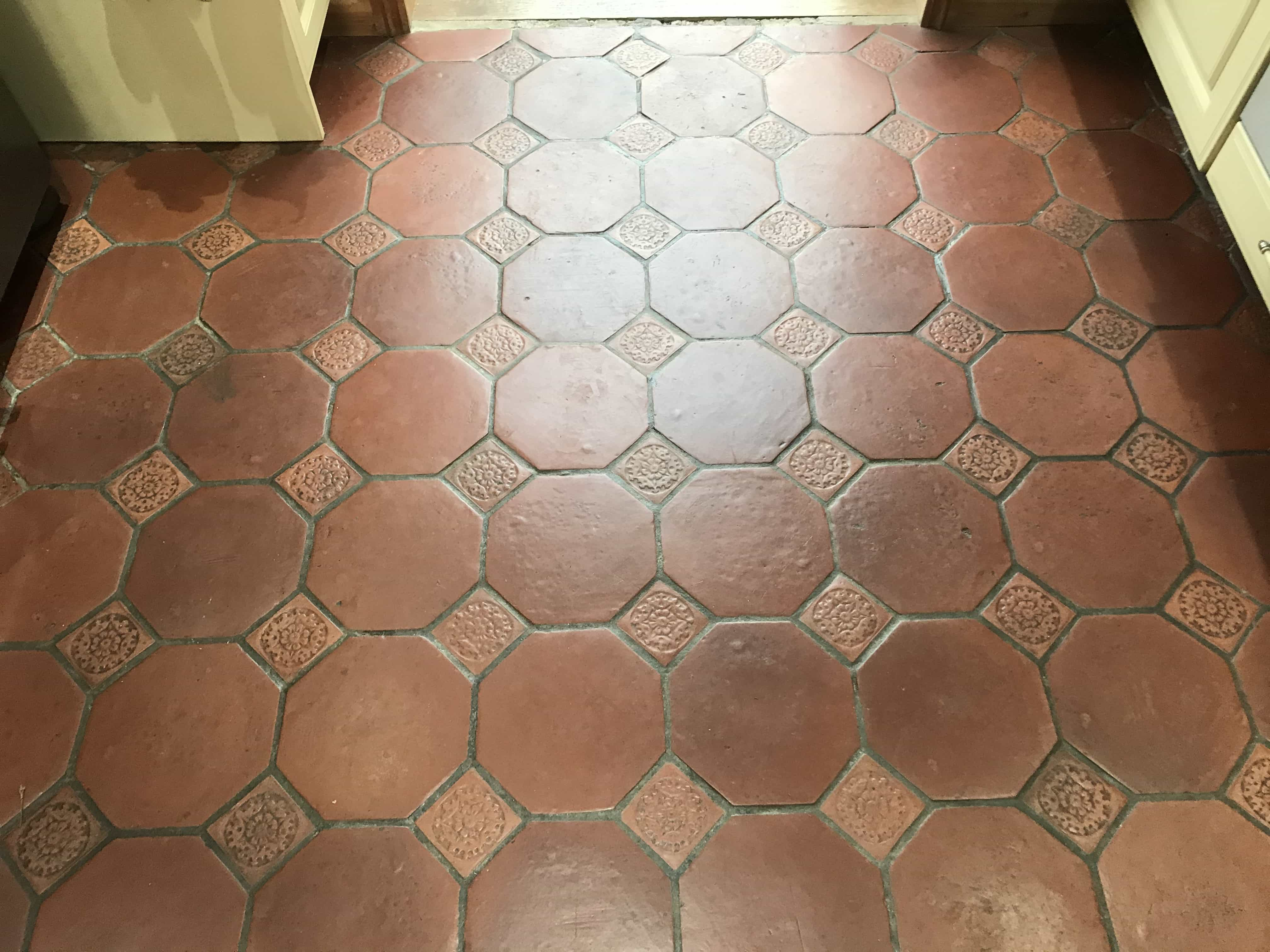 Terracotta Tiled Floor Before Cleaning Crowthorne