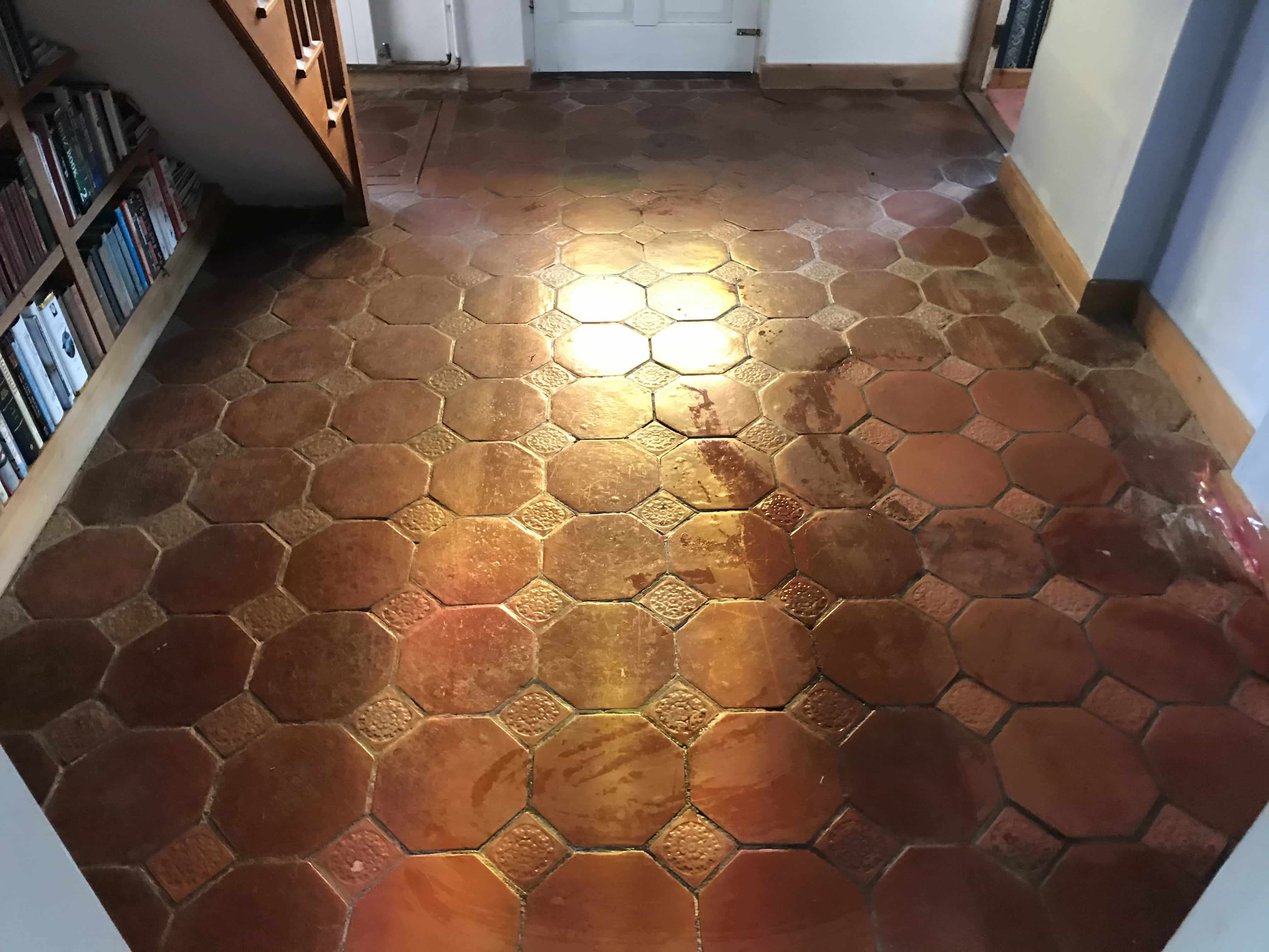 Terracotta Tiled Floor During Cleaning Crowthorne