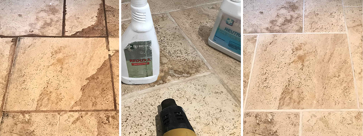 Removing Red Wine Stains from a Travertine Tiled Floor in Swallowfield near Reading