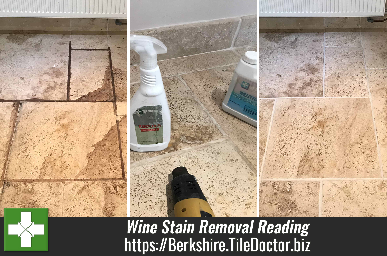 Red Wine Stains Removed from Travertine Floor in Swallowfield