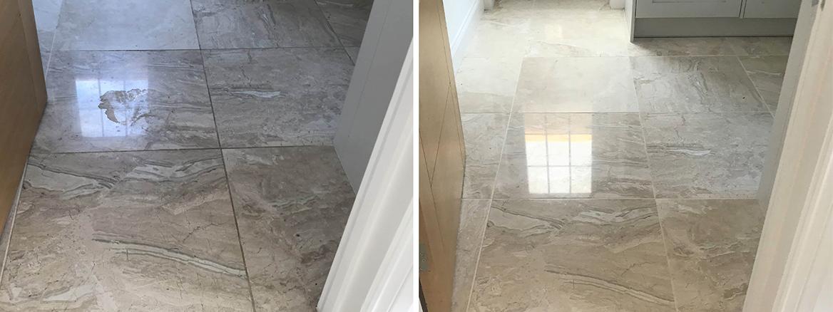 Polishing Marble Floors in Wokingham Show Home
