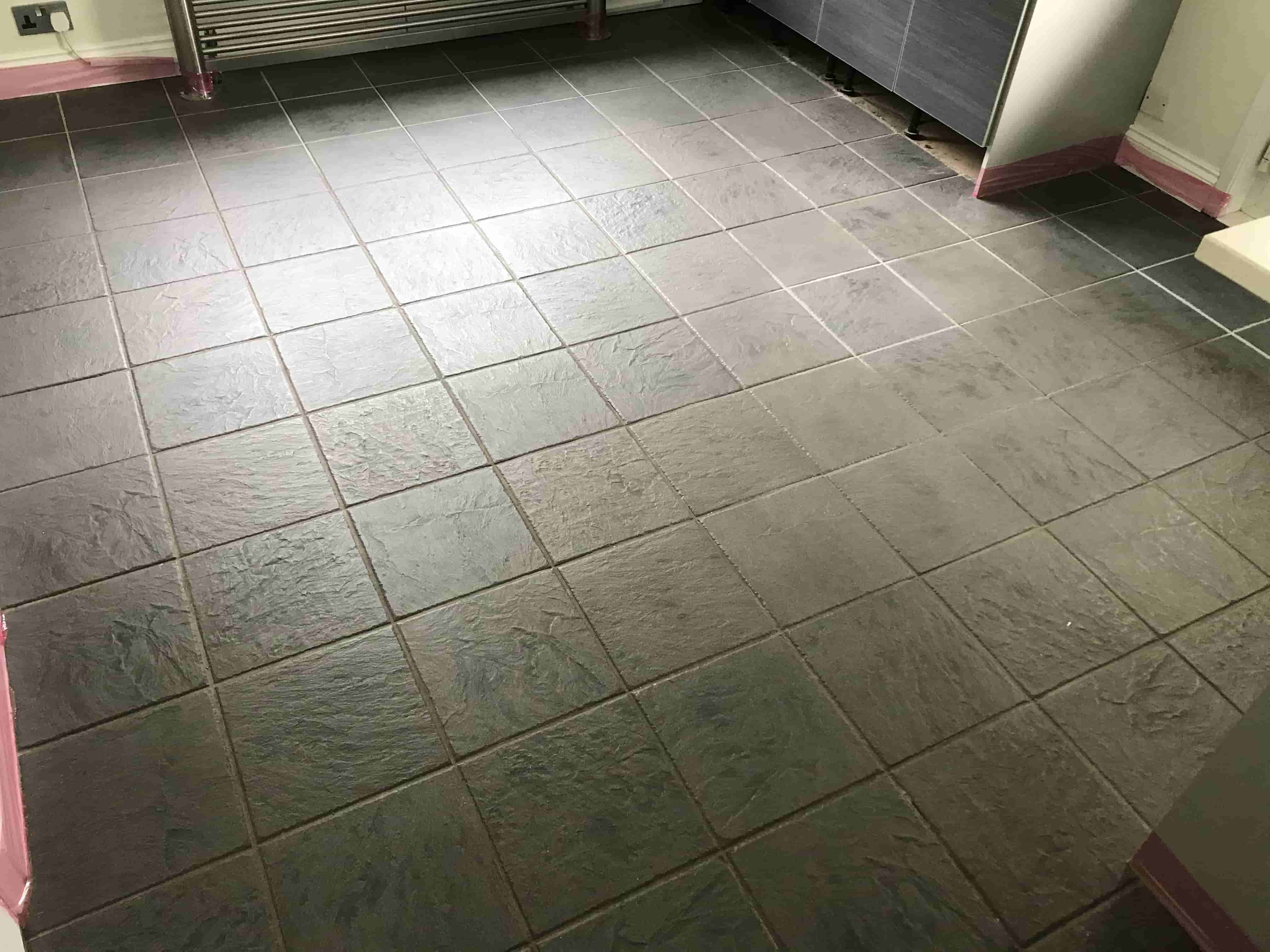Ceramic Tiled Kitchen Floor Stained With Grout Haze Before Cleaning Sandhurst