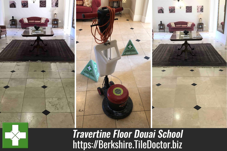Douai School Travertine Floor Tile Renovation Upper Woolhampton